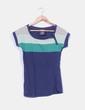 Camiseta azul marino manga corta escote verde Bershka