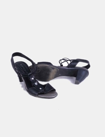 Sandalia pedreria negra