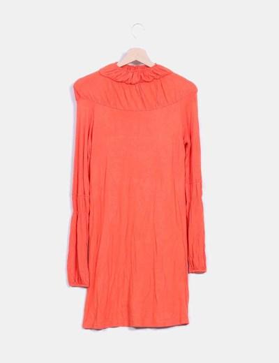 Vestido naranja manga larga con estampado