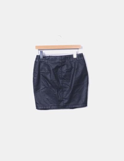 Minifalda efecto cera negra