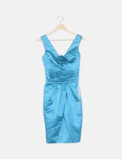 Vestido azul satinado detalle flor