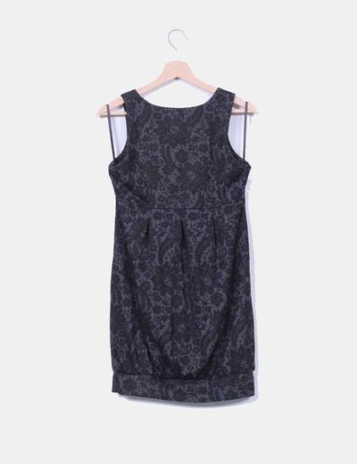 Vestido midi gris y negro escote abotonado