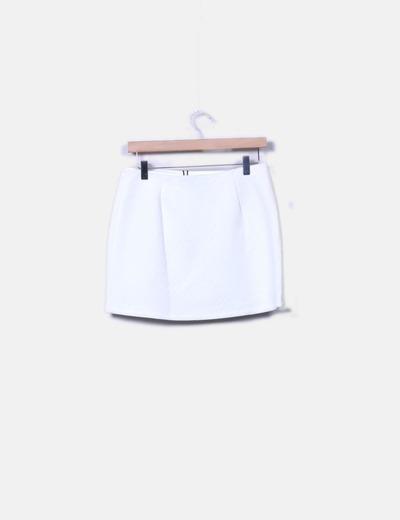 Minifalda blanca texturizada