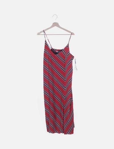 Vestido tirantes rojo con rayas