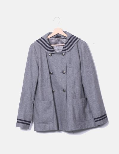 Topshop Cappotto grigio con a righe nere (sconto 50%) - Micolet b29c1cdc8022