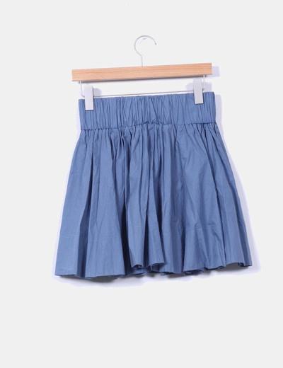 Mini falda azul cobalto de vuelo