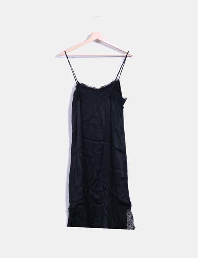 Vestido lencero encaje negro
