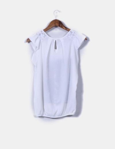 Blusa blanca print abullonada