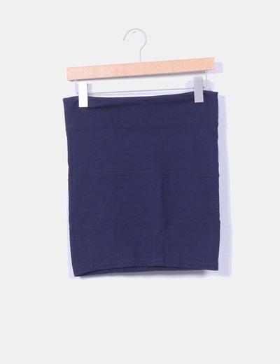 Mini falda azul marino Stradivarius