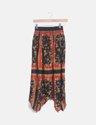 Falda midi print combinado