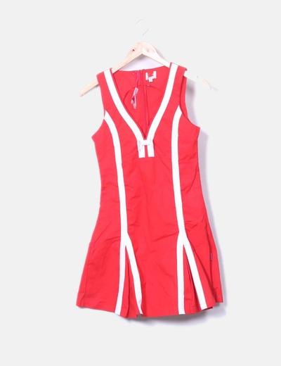 NoName Rotes Kleid mit weißen Streifen (Rabatt 74 %) - Micolet fc2bb8b92c