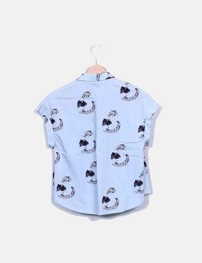 Camisa azul gatos