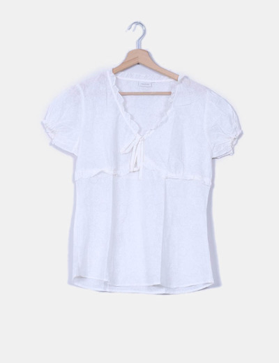 Blusa blanca semitransparente Trucco