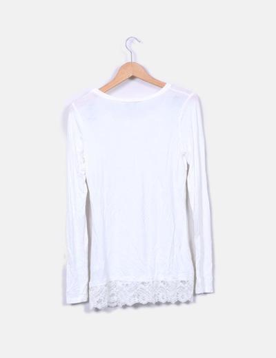 90bac8cc3e7a Camiseta lencera blanca manga larga