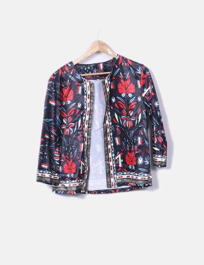 Kimono satén estampado