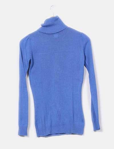 Tricot azul cuello alto