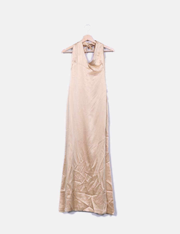 8eb5420041d online Vestidos Vestido maxi satinado Zara baratos beige BwxfvCPq ...