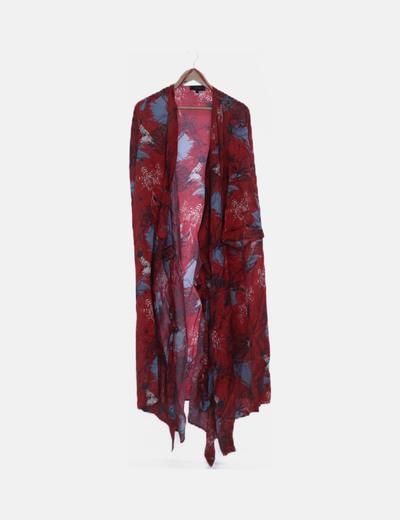 Kimono largo rojo floral