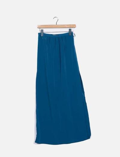 Falda maxi azul petróleo con aberturas Atmosphere