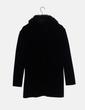 Chaqueta larga tricot negra cuello de pelo zuigia