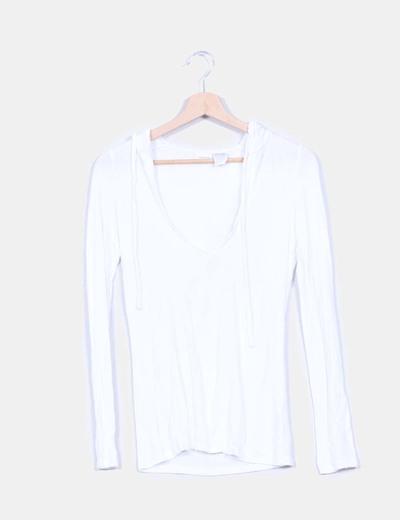 Jersey blanco con detalle capucha La Redoute