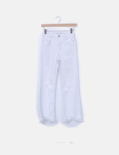 Jeans denim blanco cropped desflecado