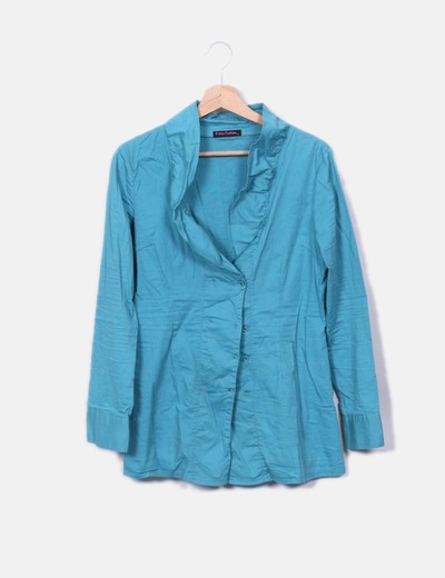 Camisa turquesa manga larga