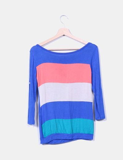 Camiseta multicolor manga larga