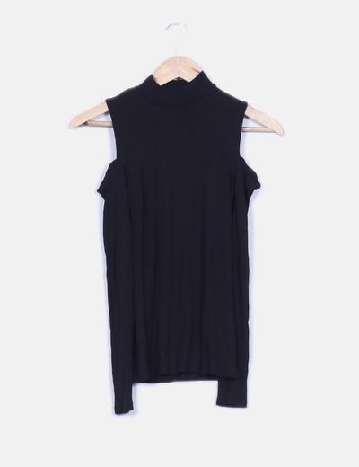 Descubiertos Hombros Camiseta Con Canalé Negra Nn08PZOXwk