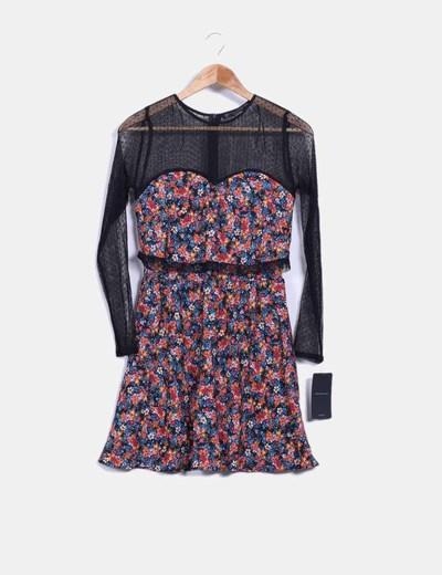 Vestido floral combinado con plumeti Zara