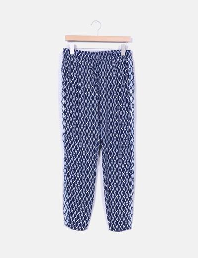 Pantalón baggy azul marino estampado étnico