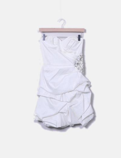 Vestido fiesta palabra de honor blanco perla