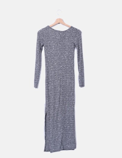 Vestido maxi tricot gris jaspeado
