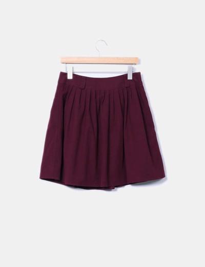 Falda midi morada de pano