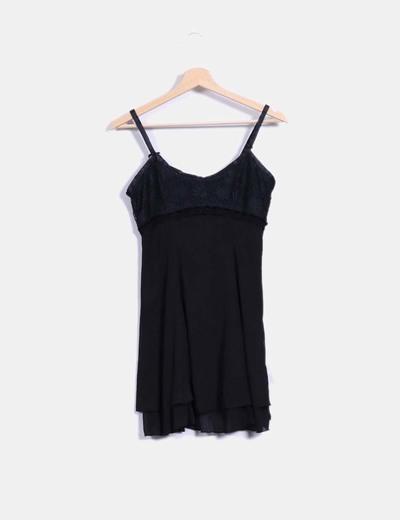 Vestido lencero negro combinado On the road