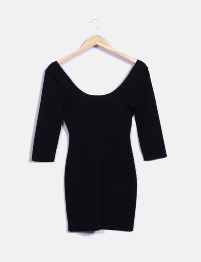 Vestido negro manga francesa Topshop