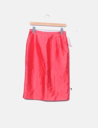 Falda midi roja satinada