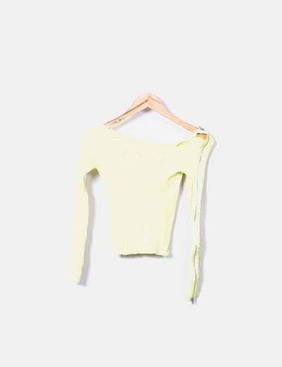 Jersey amarillo canalé con cremallera Bershka