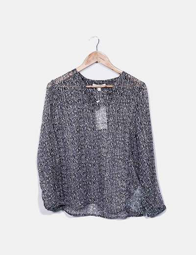 Blusa estampada raya glitter Cortefiel