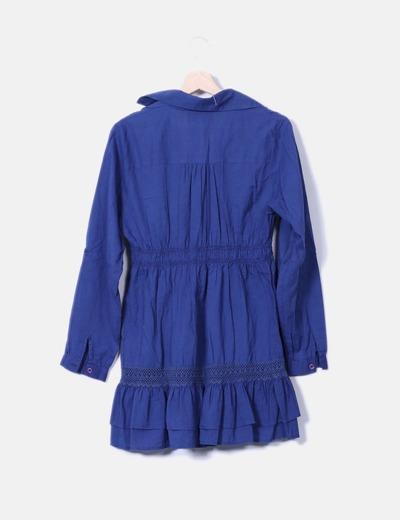 Vestido camisero azul marino con bordado