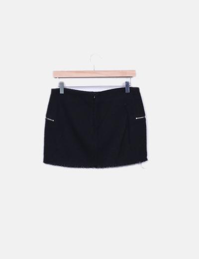 Mini falda tweed negro cremalleras
