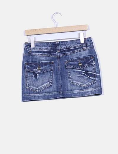 Mini falda bolsillos traseros