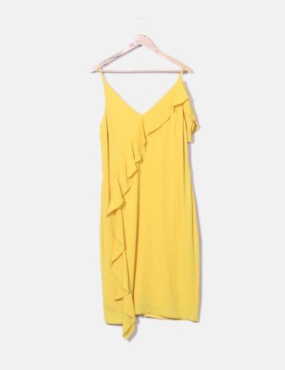 Vestido fluido amarillo volantes