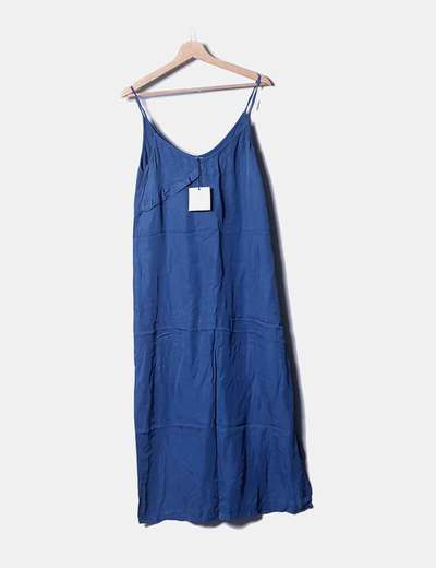 Vestido azul satén detalle plisado