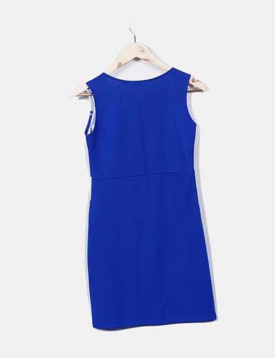 Vestido Azul Y Blanco Detalle Troquelado