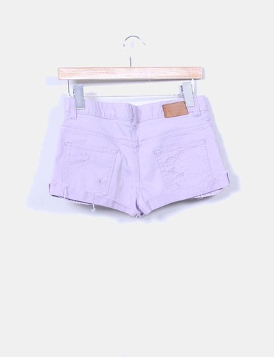 Shorts denim ripped lila