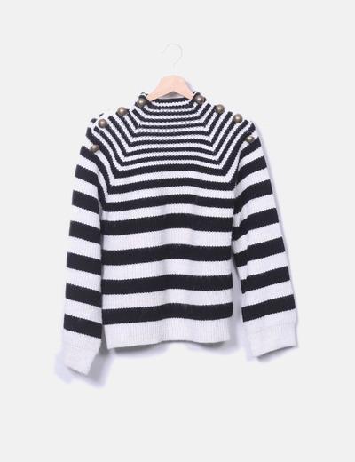 Jersey lana blanco y negro Mango