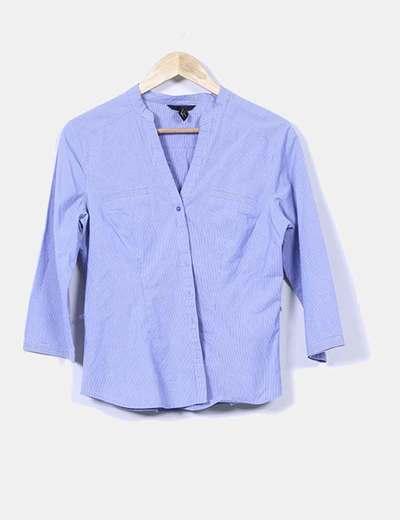 Camisa azul con rayas diplomáticas H&M