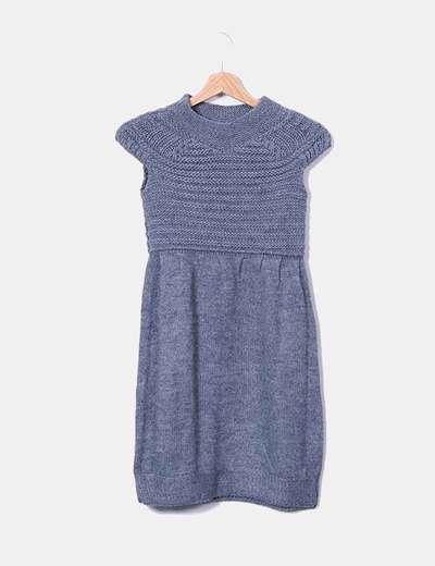 Vestido de punto gris sin mangas