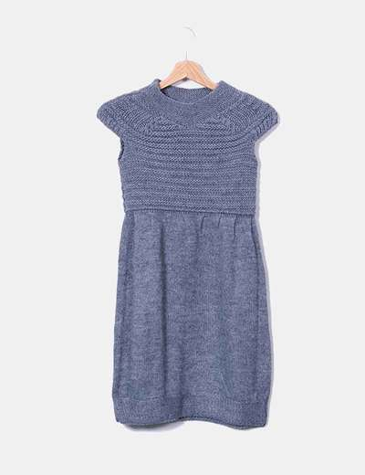 Vestido de punto gris sin mangas Pull&Bear
